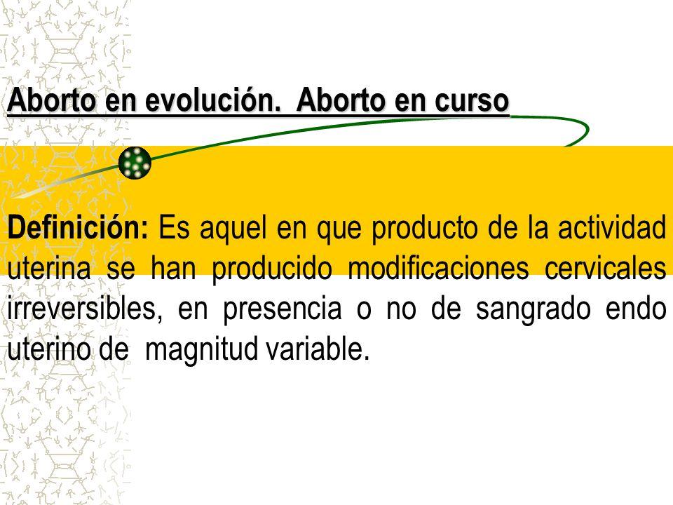 Aborto en evolución. Aborto en curso
