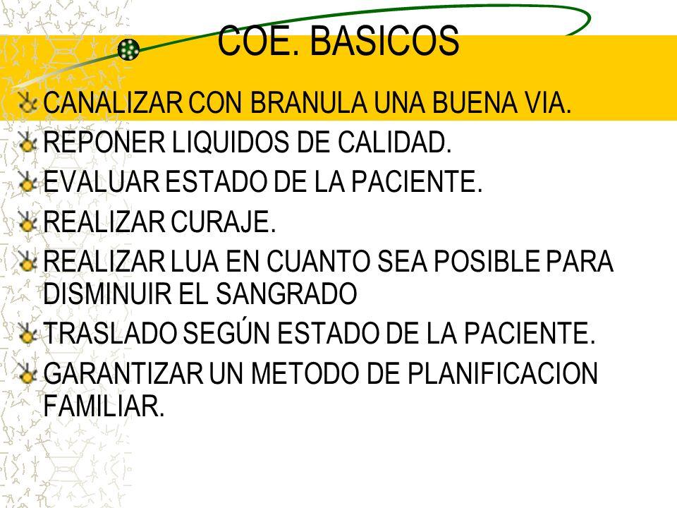 COE. BASICOS CANALIZAR CON BRANULA UNA BUENA VIA.