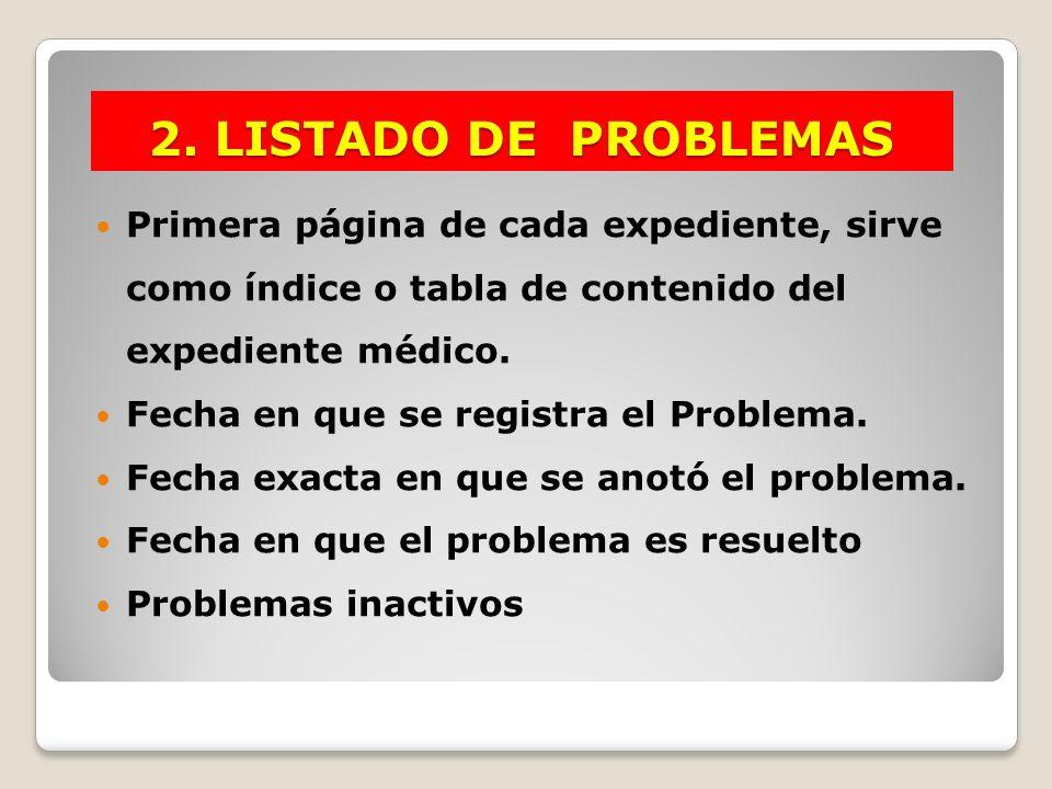 2. LISTADO DE PROBLEMAS Primera página de cada expediente, sirve como índice o tabla de contenido del expediente médico.
