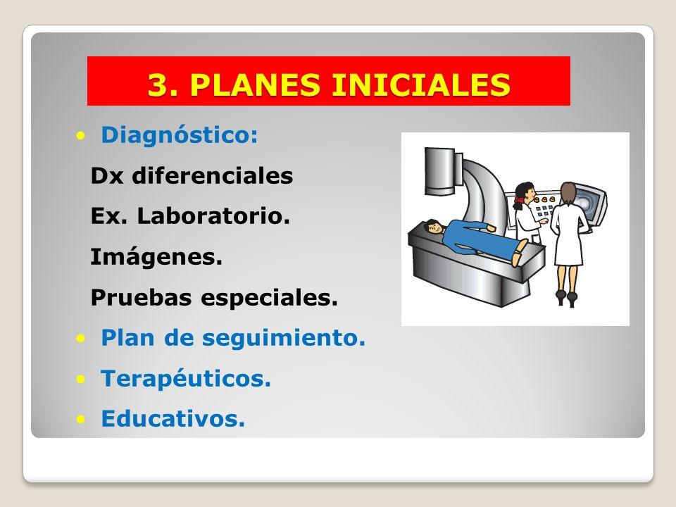 3. PLANES INICIALES Diagnóstico: Dx diferenciales Ex. Laboratorio.