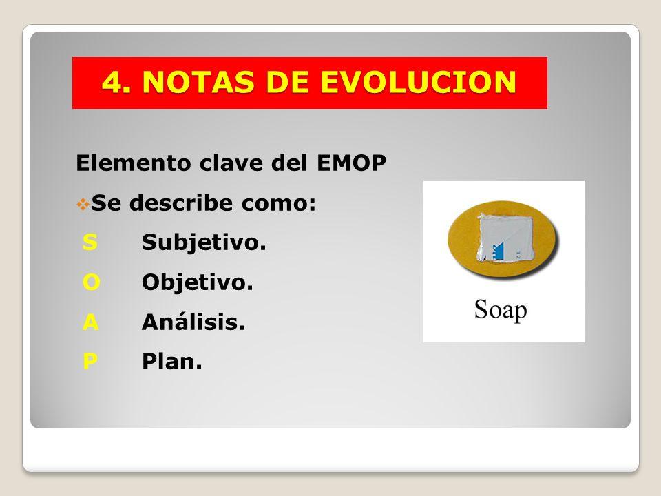 4. NOTAS DE EVOLUCION Elemento clave del EMOP Se describe como: