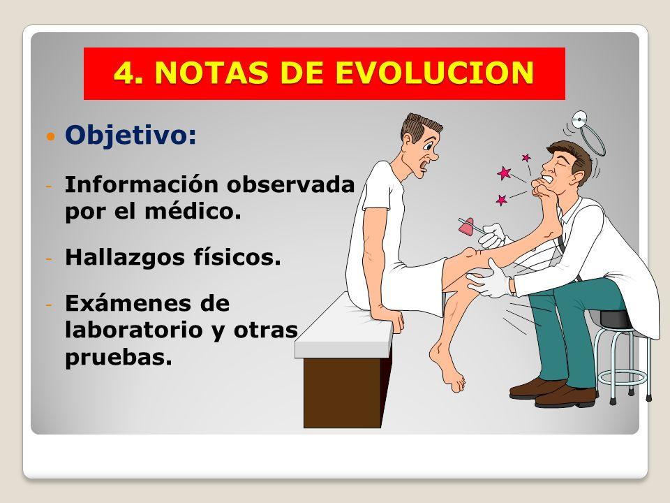 4. NOTAS DE EVOLUCION Objetivo: Información observada por el médico.