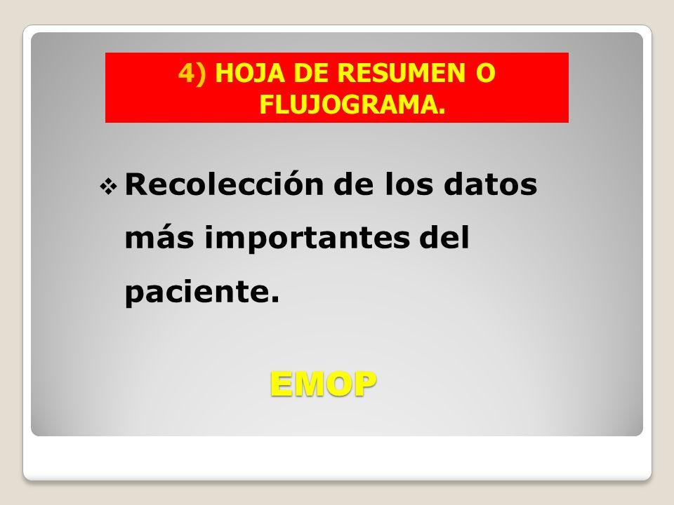 EMOP Recolección de los datos más importantes del paciente.
