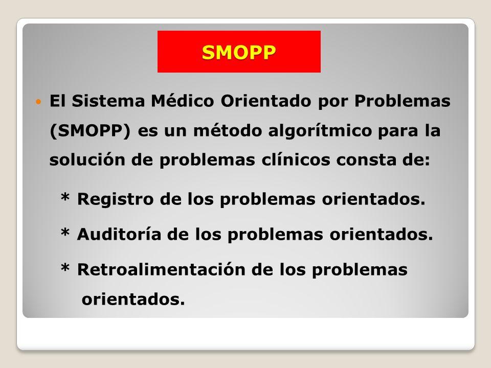 SMOPP El Sistema Médico Orientado por Problemas (SMOPP) es un método algorítmico para la solución de problemas clínicos consta de: