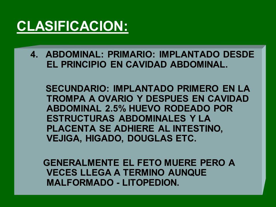 CLASIFICACION: 4. ABDOMINAL: PRIMARIO: IMPLANTADO DESDE EL PRINCIPIO EN CAVIDAD ABDOMINAL.