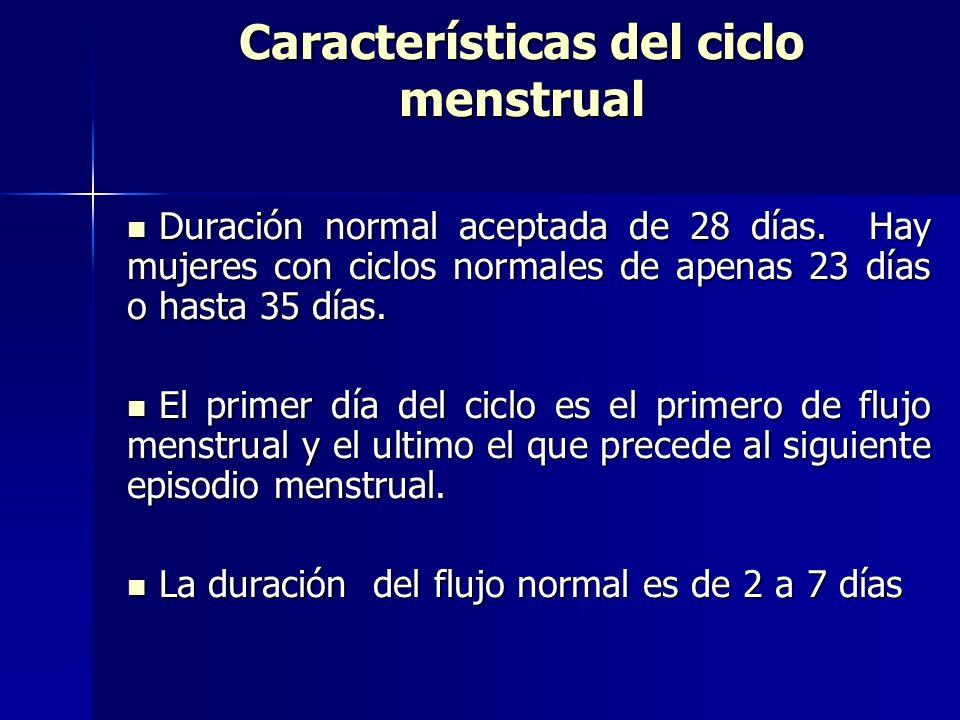 Características del ciclo menstrual