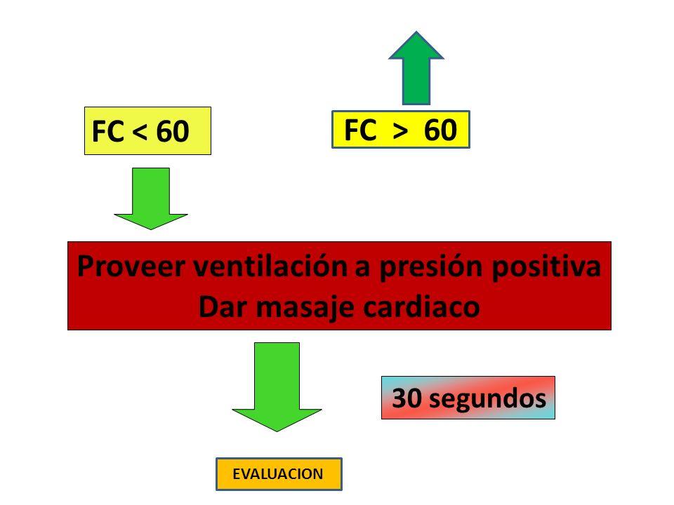 Proveer ventilación a presión positiva