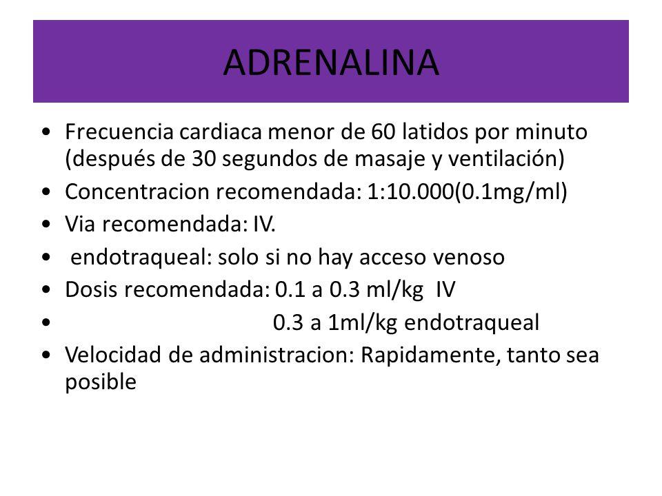 ADRENALINA Frecuencia cardiaca menor de 60 latidos por minuto (después de 30 segundos de masaje y ventilación)