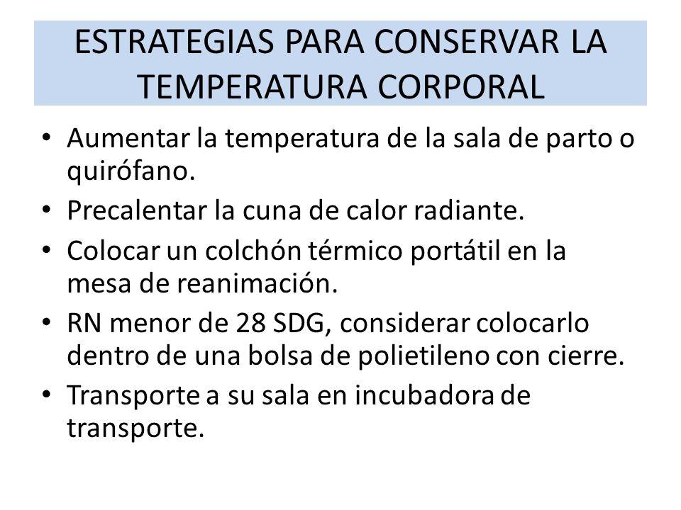 ESTRATEGIAS PARA CONSERVAR LA TEMPERATURA CORPORAL