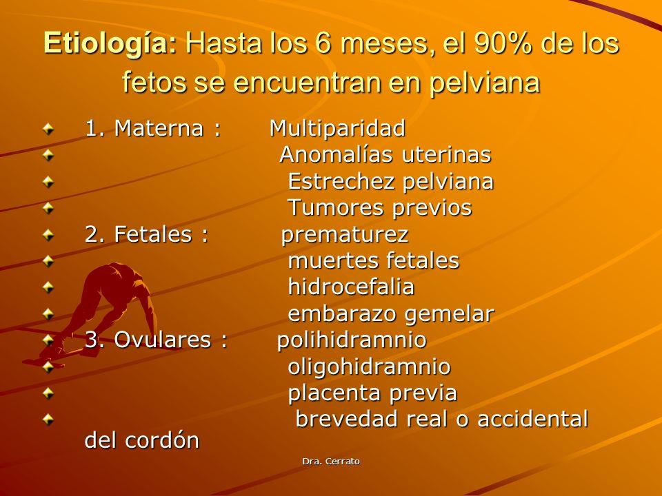 Etiología: Hasta los 6 meses, el 90% de los fetos se encuentran en pelviana