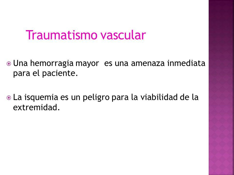Traumatismo vascular Una hemorragia mayor es una amenaza inmediata para el paciente.
