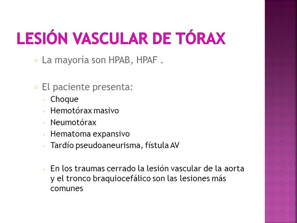 Lesión vascular de tórax