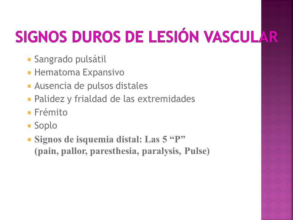 Signos duros de lesión vascular