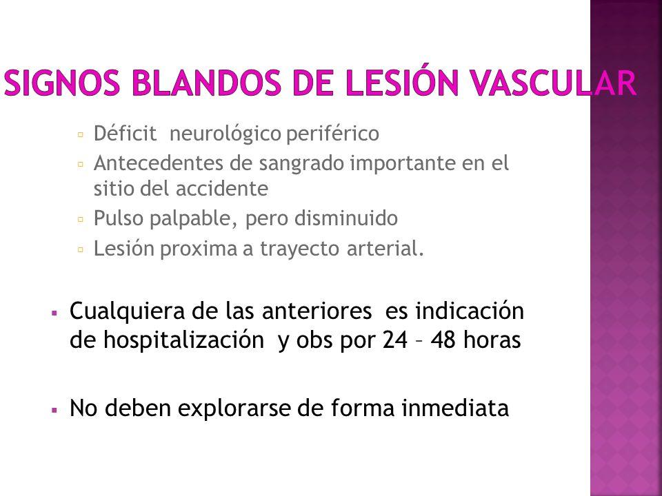 Signos blandos de lesión vascular