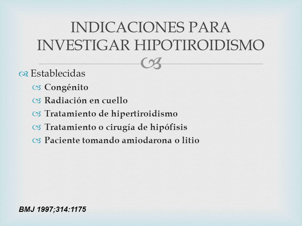 INDICACIONES PARA INVESTIGAR HIPOTIROIDISMO