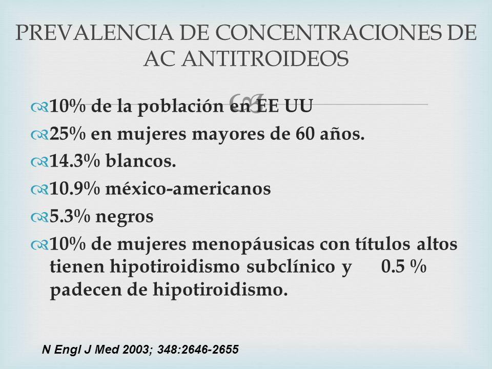 PREVALENCIA DE CONCENTRACIONES DE AC ANTITROIDEOS