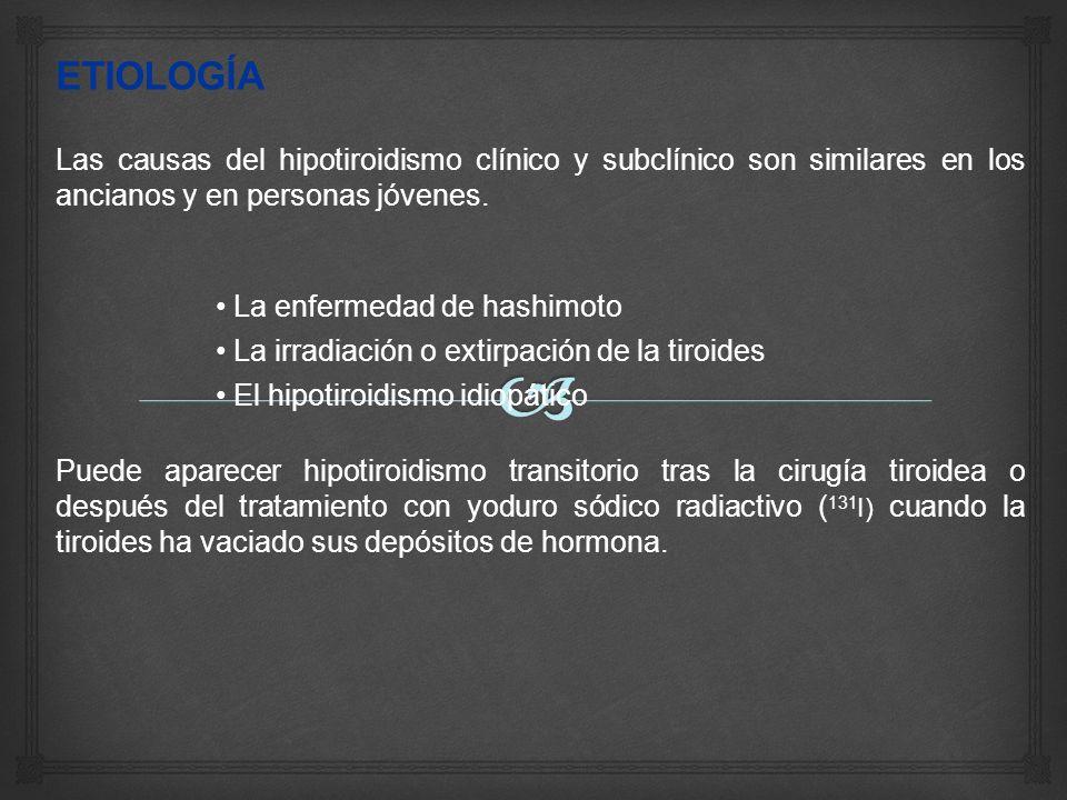 ETIOLOGÍA Las causas del hipotiroidismo clínico y subclínico son similares en los ancianos y en personas jóvenes.