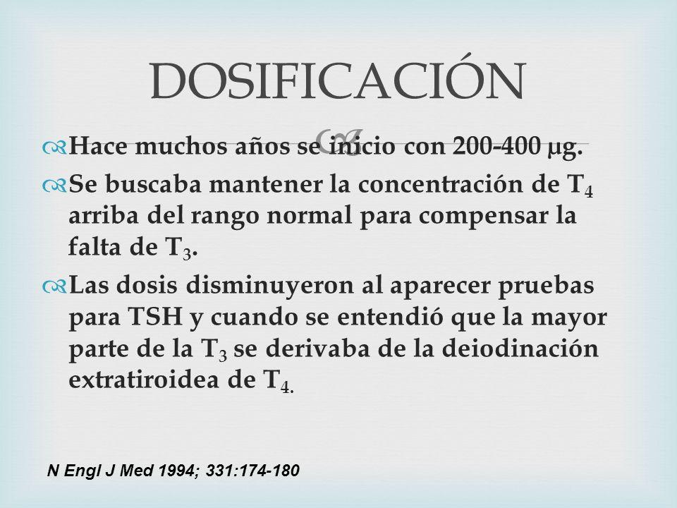 DOSIFICACIÓN Hace muchos años se inicio con 200-400 µg.