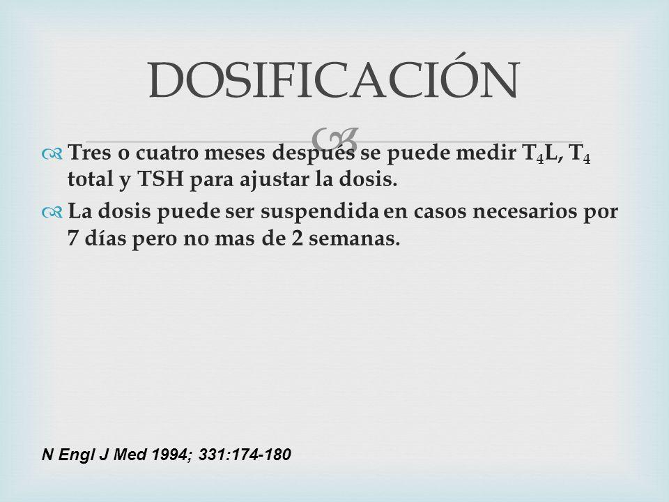 DOSIFICACIÓNTres o cuatro meses después se puede medir T4L, T4 total y TSH para ajustar la dosis.