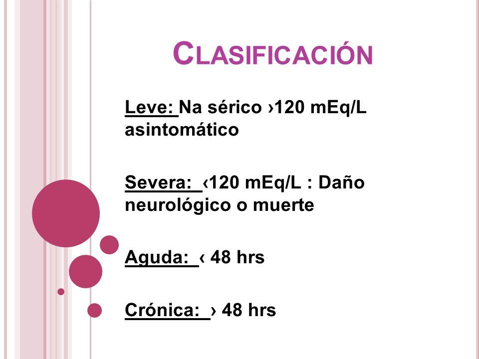 Clasificación Leve: Na sérico ›120 mEq/L asintomático