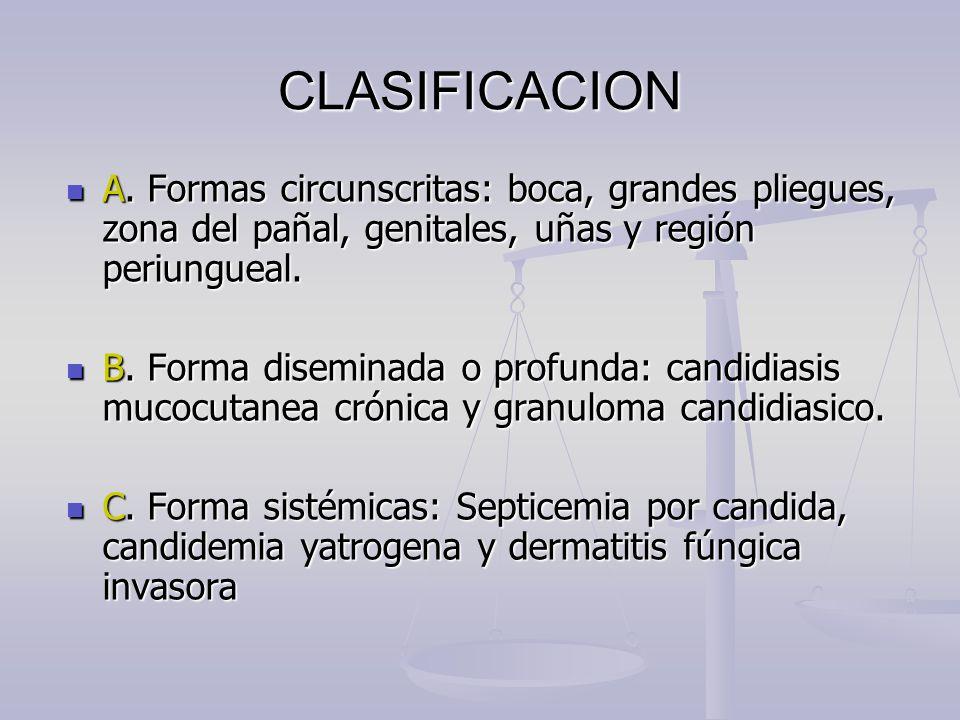 CLASIFICACION A. Formas circunscritas: boca, grandes pliegues, zona del pañal, genitales, uñas y región periungueal.