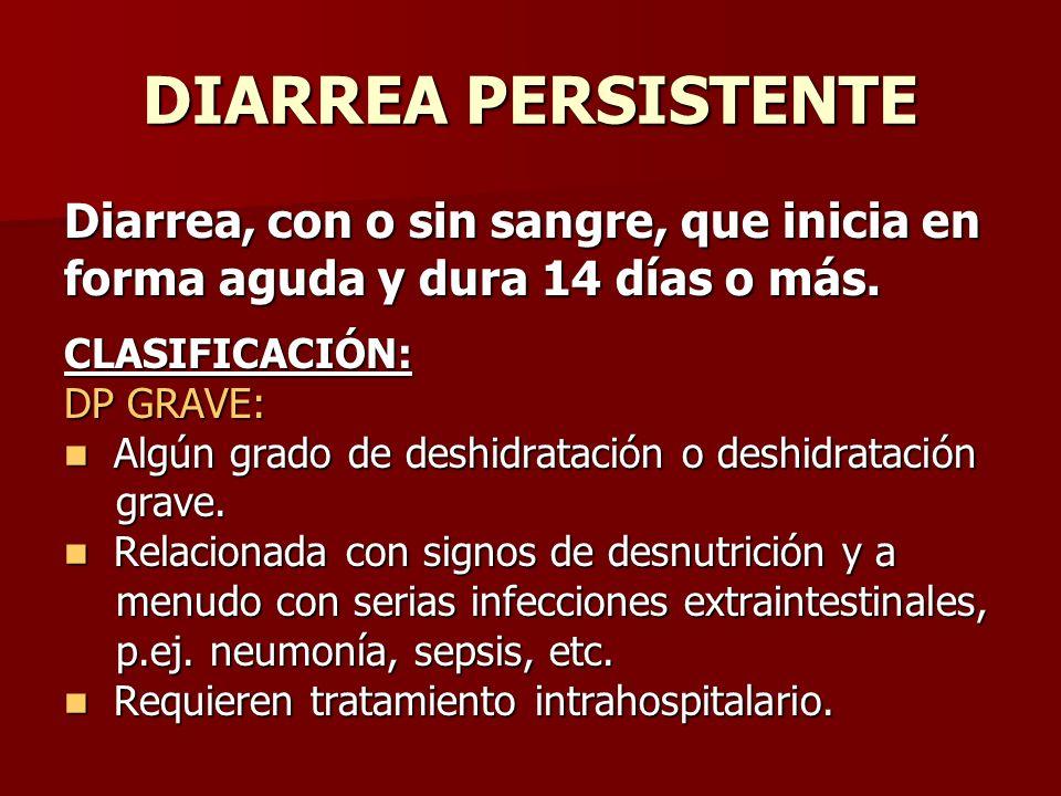 DIARREA PERSISTENTE Diarrea, con o sin sangre, que inicia en forma aguda y dura 14 días o más. CLASIFICACIÓN: