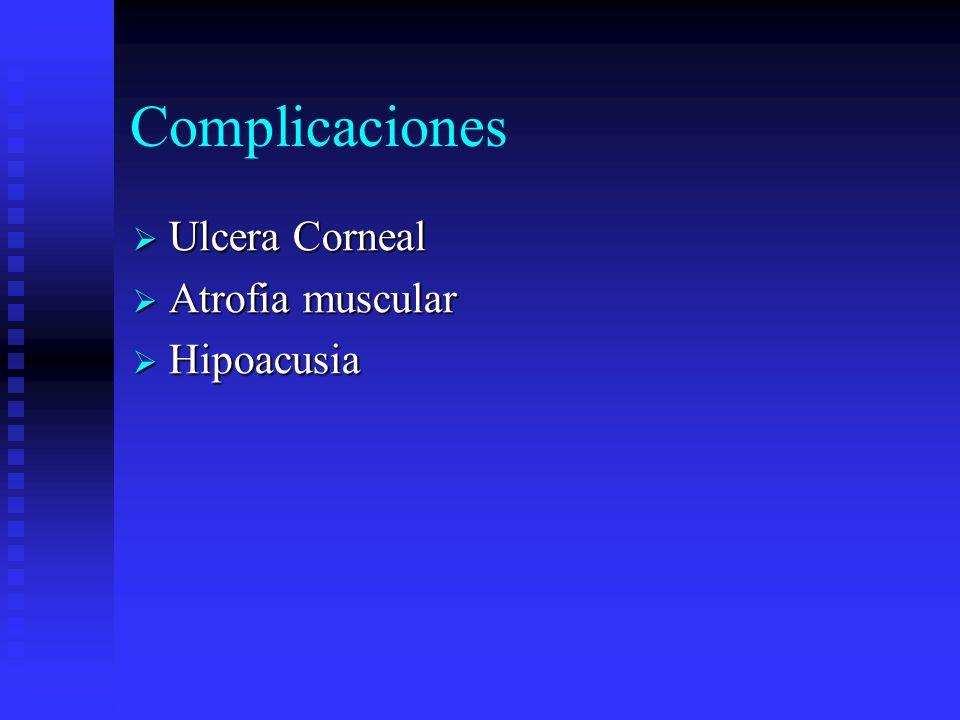 Complicaciones Ulcera Corneal Atrofia muscular Hipoacusia