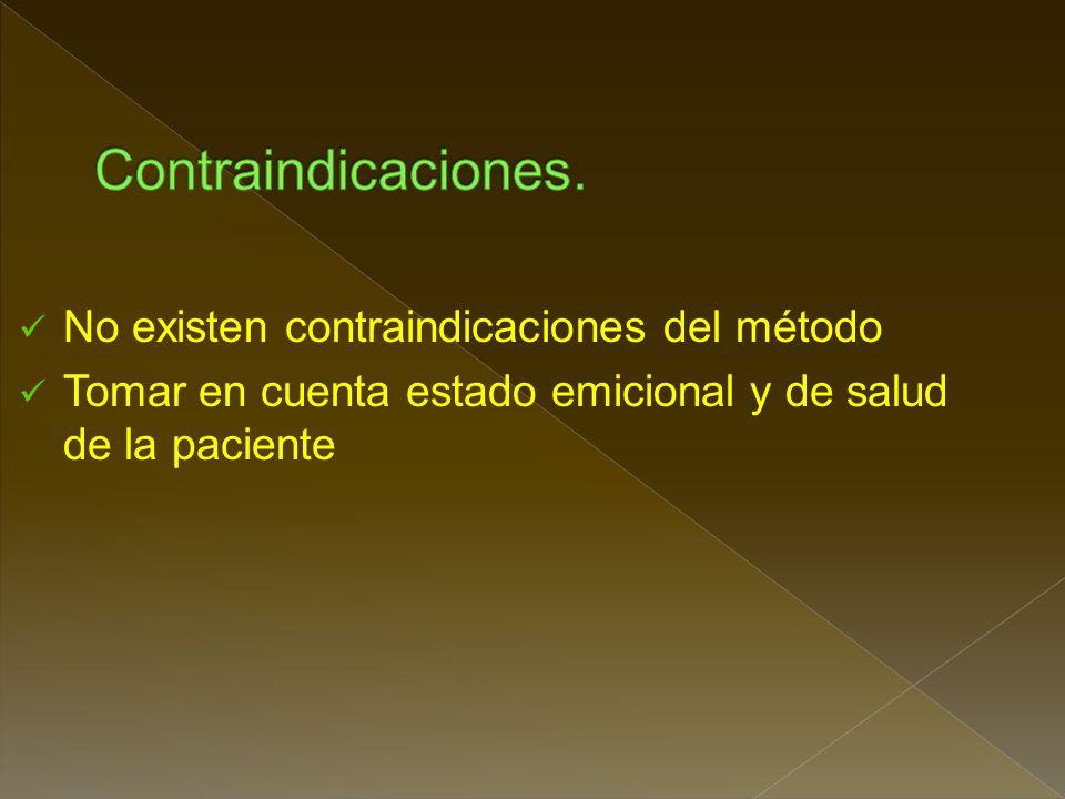 Contraindicaciones. No existen contraindicaciones del método