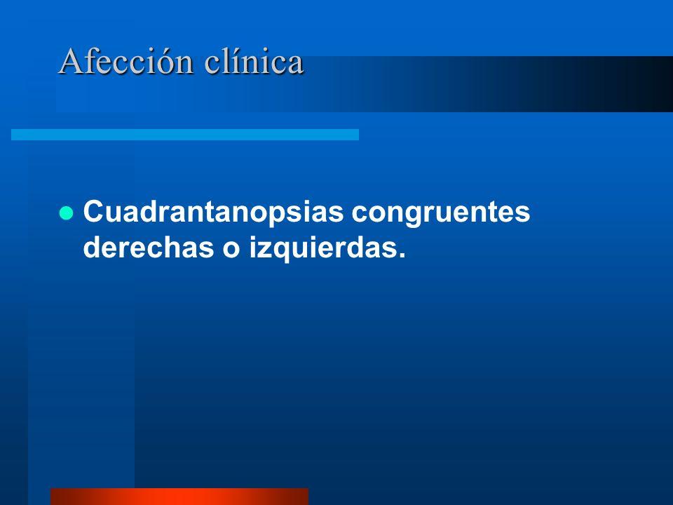 Afección clínica Cuadrantanopsias congruentes derechas o izquierdas.