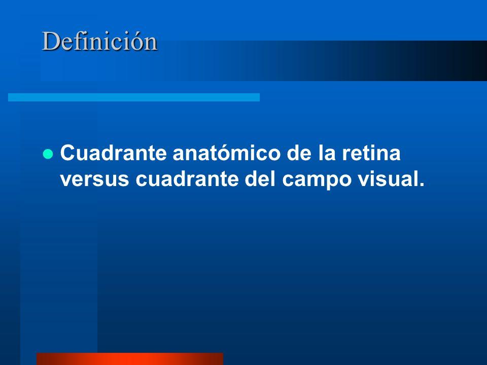Definición Cuadrante anatómico de la retina versus cuadrante del campo visual.