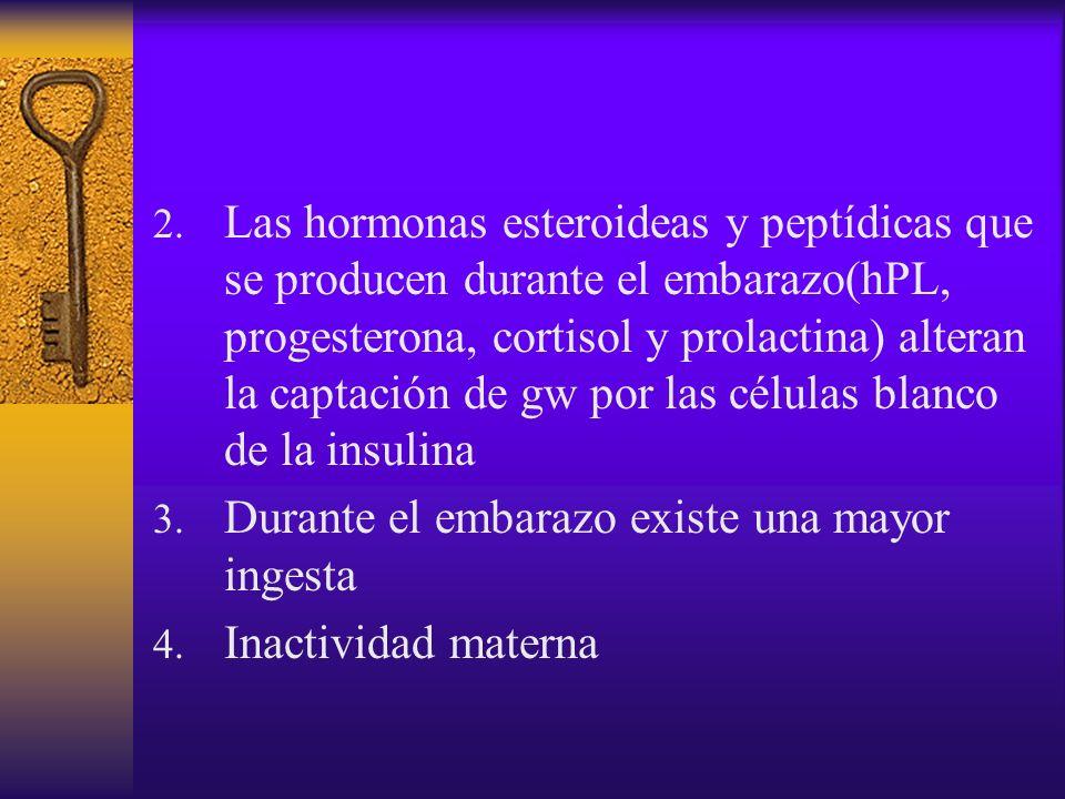 Las hormonas esteroideas y peptídicas que se producen durante el embarazo(hPL, progesterona, cortisol y prolactina) alteran la captación de gw por las células blanco de la insulina