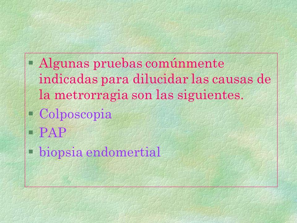 Algunas pruebas comúnmente indicadas para dilucidar las causas de la metrorragia son las siguientes.