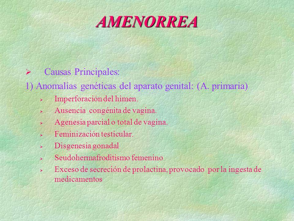 AMENORREA 1) Anomalías genéticas del aparato genital: (A. primaria)