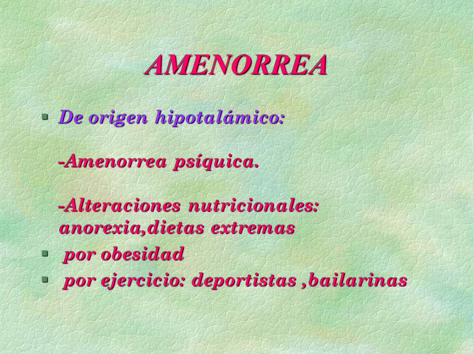 AMENORREA De origen hipotalámico: -Amenorrea psíquica. -Alteraciones nutricionales: anorexia,dietas extremas.