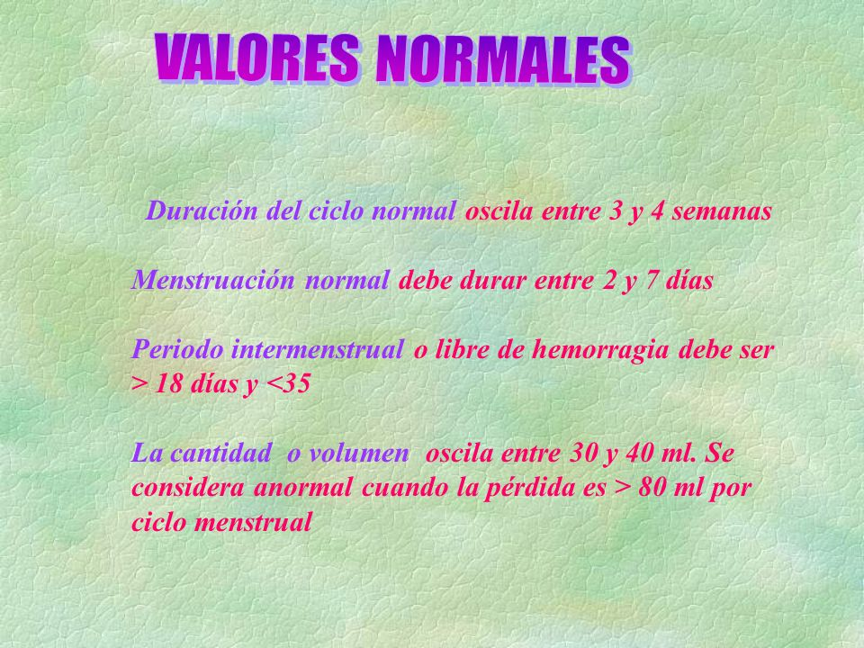 VALORES NORMALES