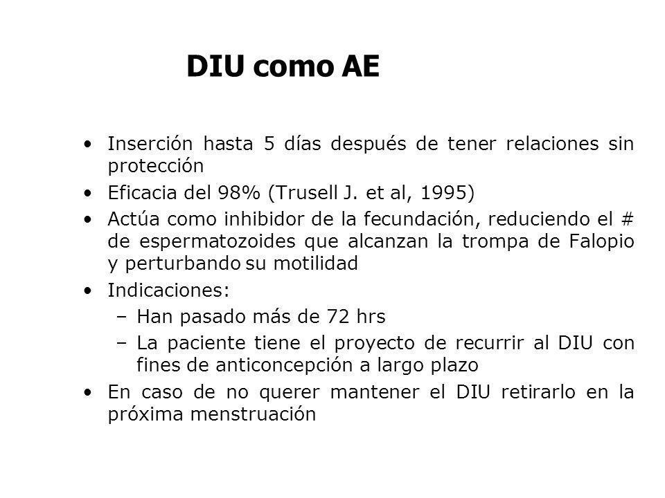 DIU como AE Inserción hasta 5 días después de tener relaciones sin protección. Eficacia del 98% (Trusell J. et al, 1995)