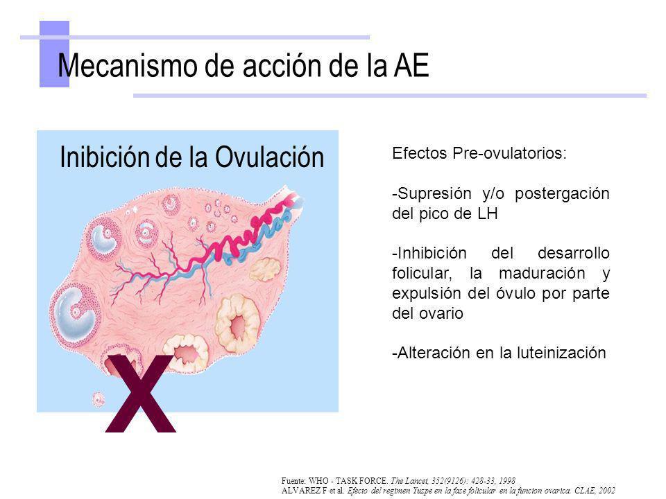 X Mecanismo de acción de la AE Inibición de la Ovulación