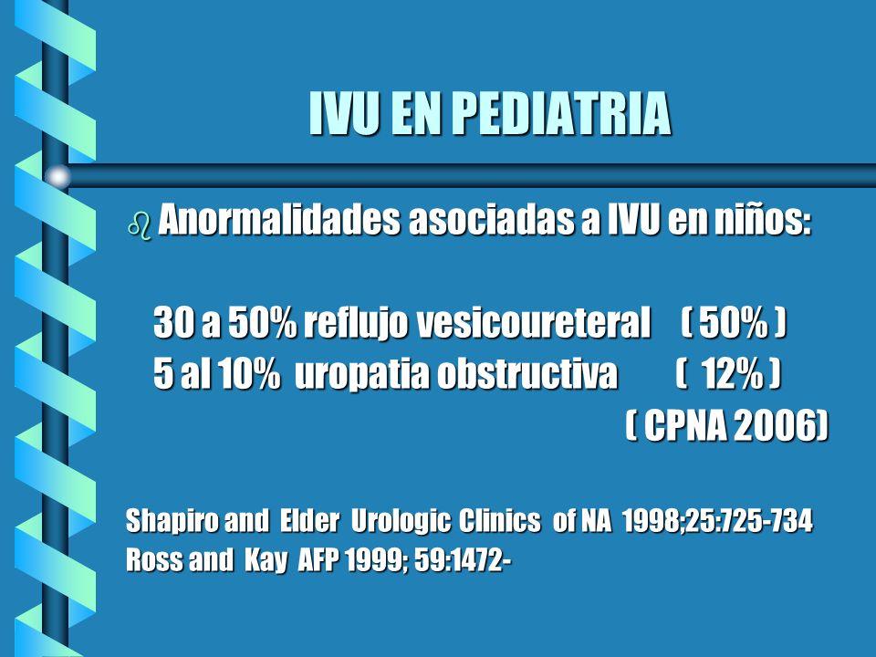 IVU EN PEDIATRIA Anormalidades asociadas a IVU en niños: