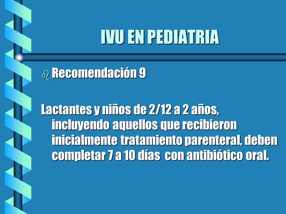 IVU EN PEDIATRIA Recomendación 9