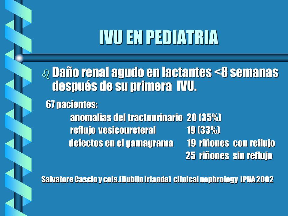 IVU EN PEDIATRIADaño renal agudo en lactantes <8 semanas después de su primera IVU. 67 pacientes: anomalias del tractourinario 20 (35%)