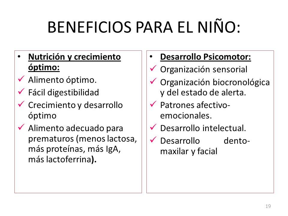 BENEFICIOS PARA EL NIÑO: