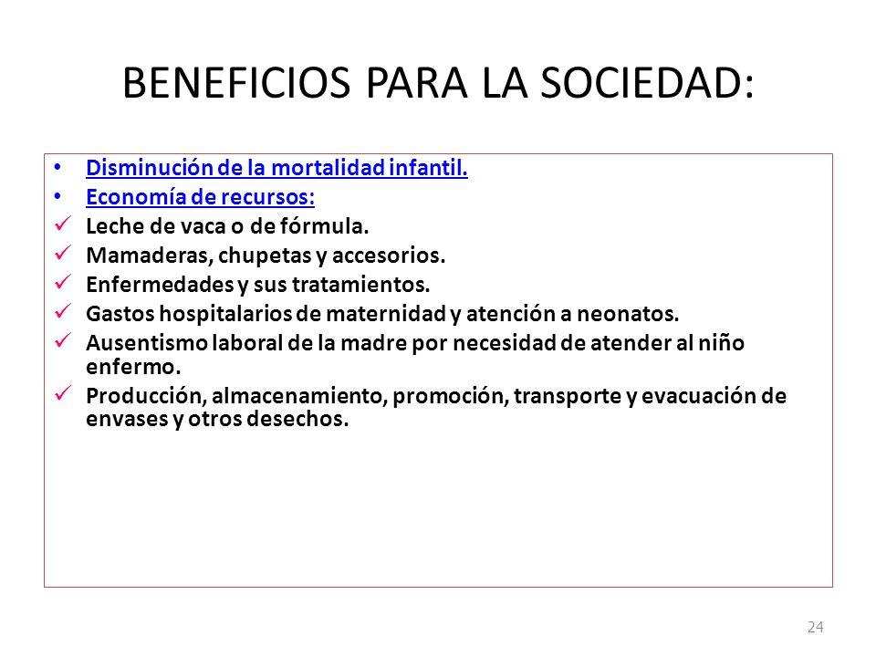 BENEFICIOS PARA LA SOCIEDAD:
