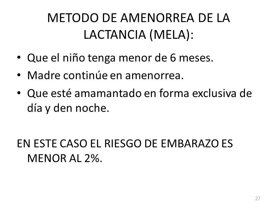 METODO DE AMENORREA DE LA LACTANCIA (MELA):