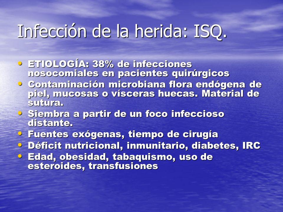 Infección de la herida: ISQ.