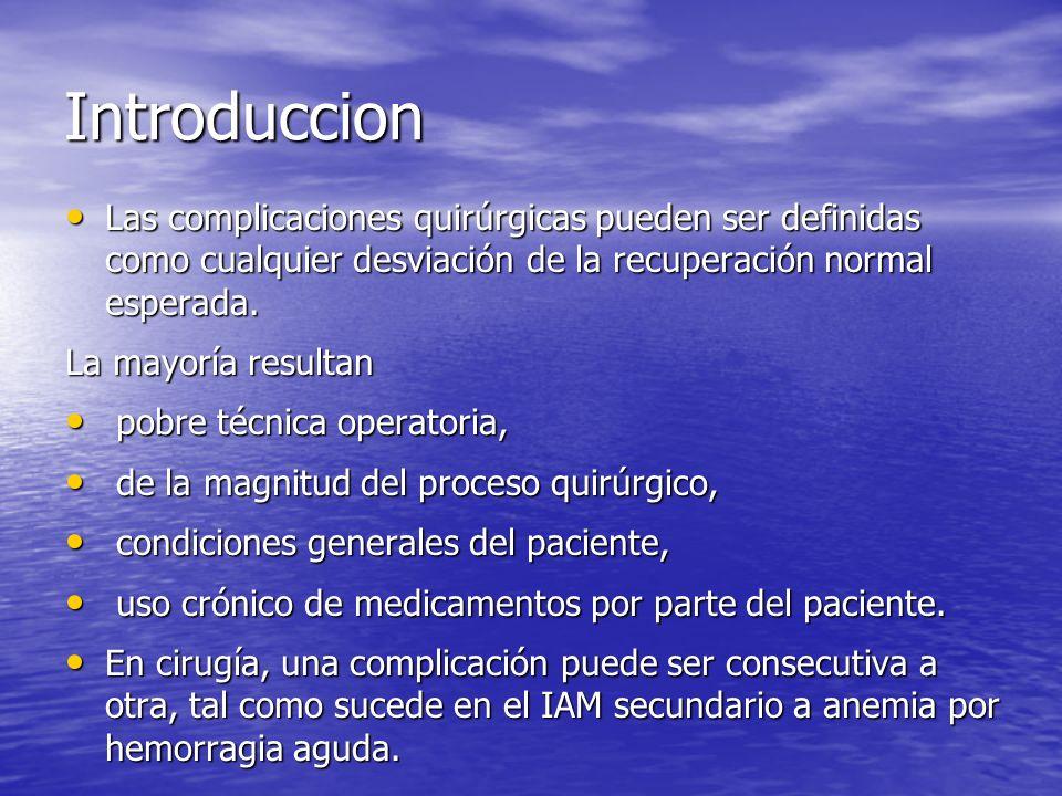 Introduccion Las complicaciones quirúrgicas pueden ser definidas como cualquier desviación de la recuperación normal esperada.