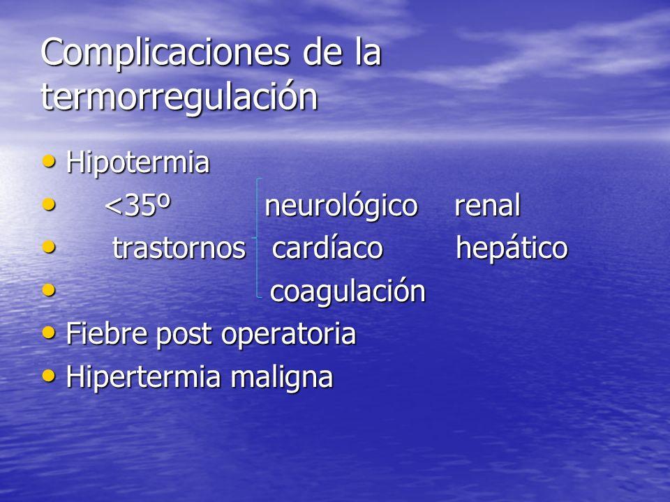 Complicaciones de la termorregulación