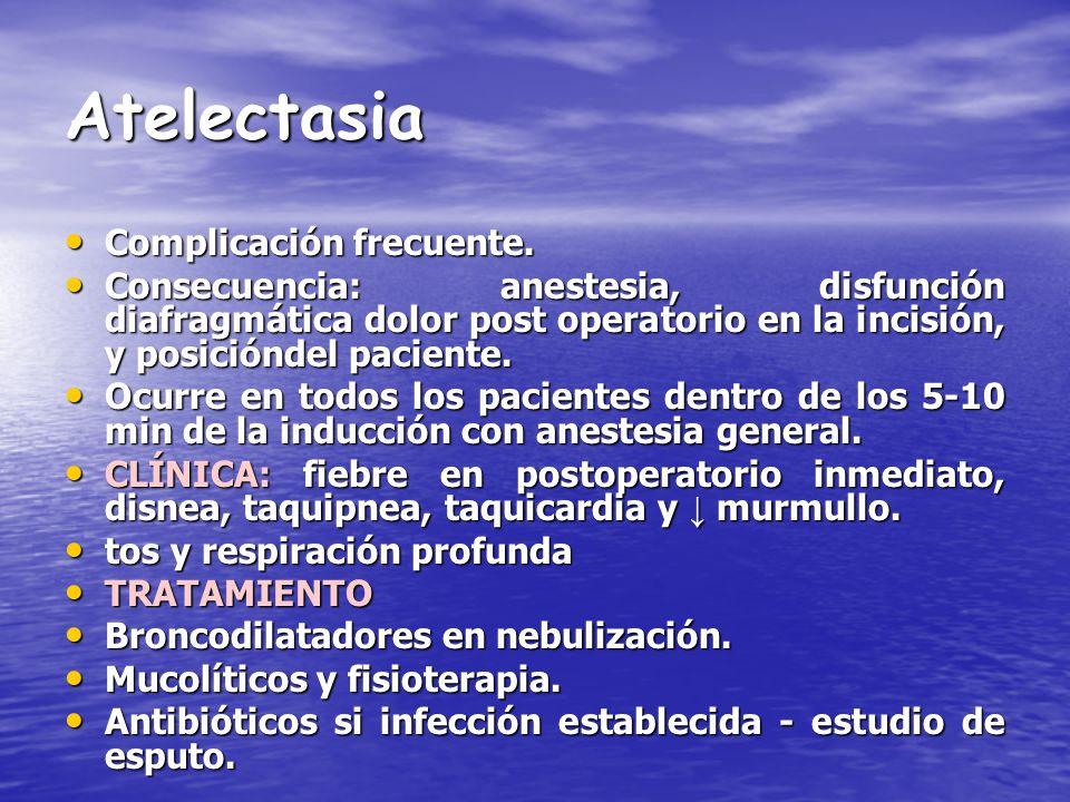 Atelectasia Complicación frecuente.