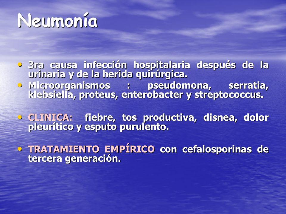 Neumonía 3ra causa infección hospitalaria después de la urinaria y de la herida quirúrgica.