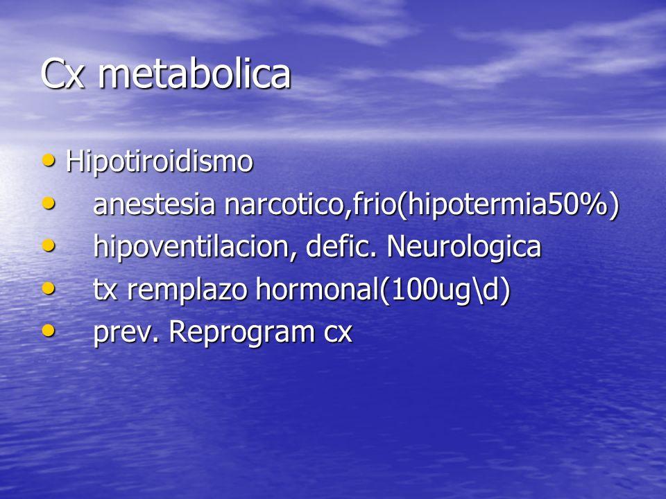 Cx metabolica Hipotiroidismo anestesia narcotico,frio(hipotermia50%)
