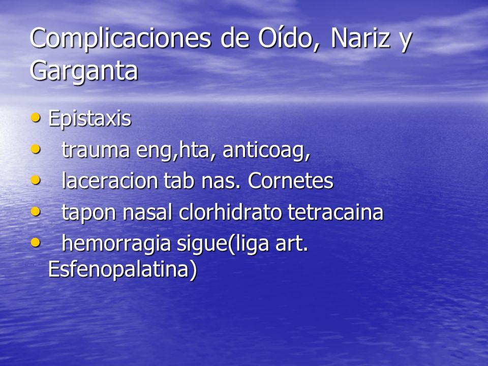 Complicaciones de Oído, Nariz y Garganta